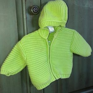 Hanna Andersson lime green knit hoody